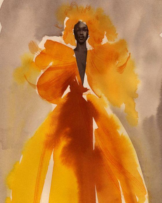 Cecilia Carlstedts grafiska blad Look 73, Valentino med attityd och skönhet på samma gång.