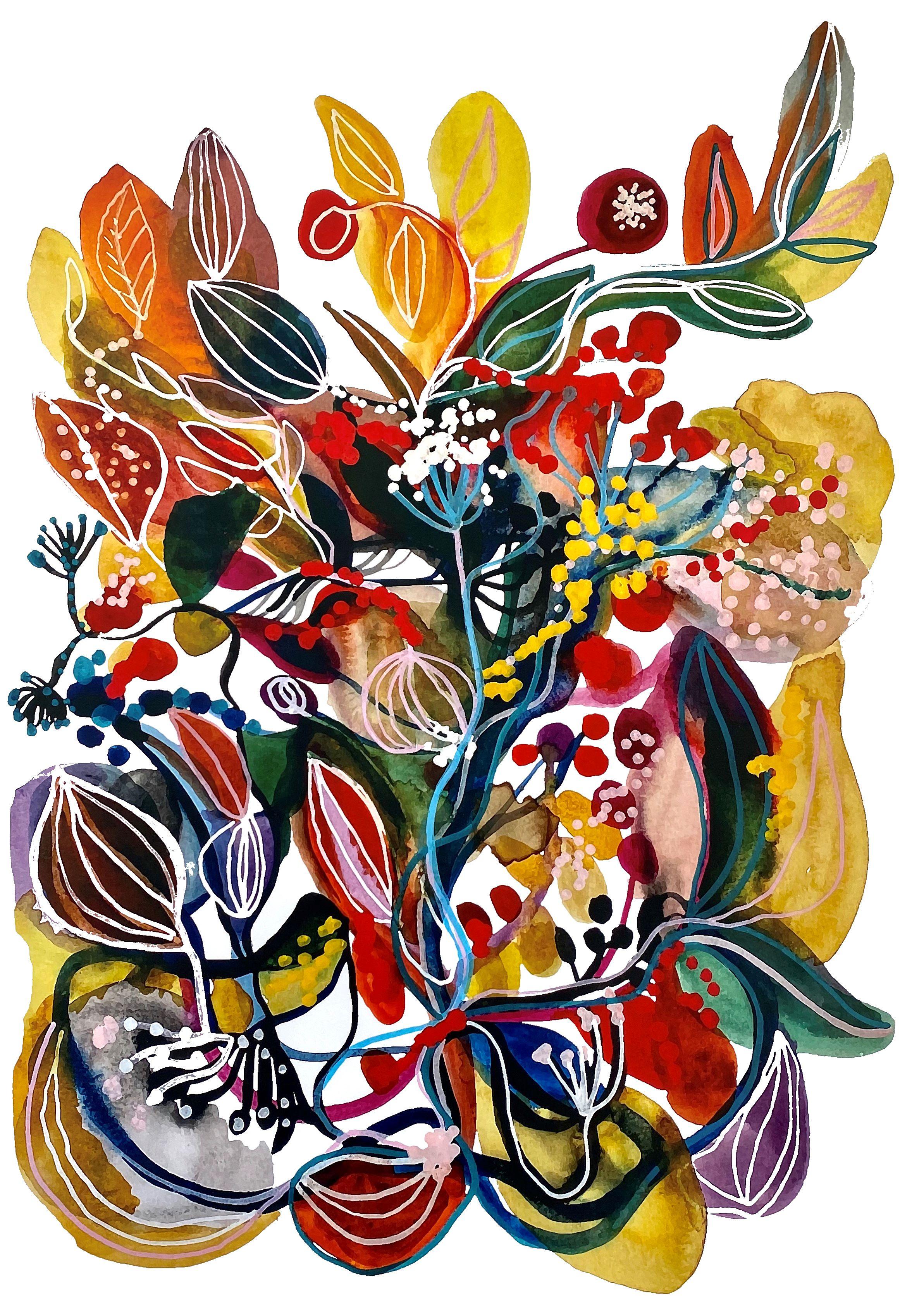 Trycket Blomstertid av Karolina Palmér, en färgexplosion som skapar glädje och ger energi.