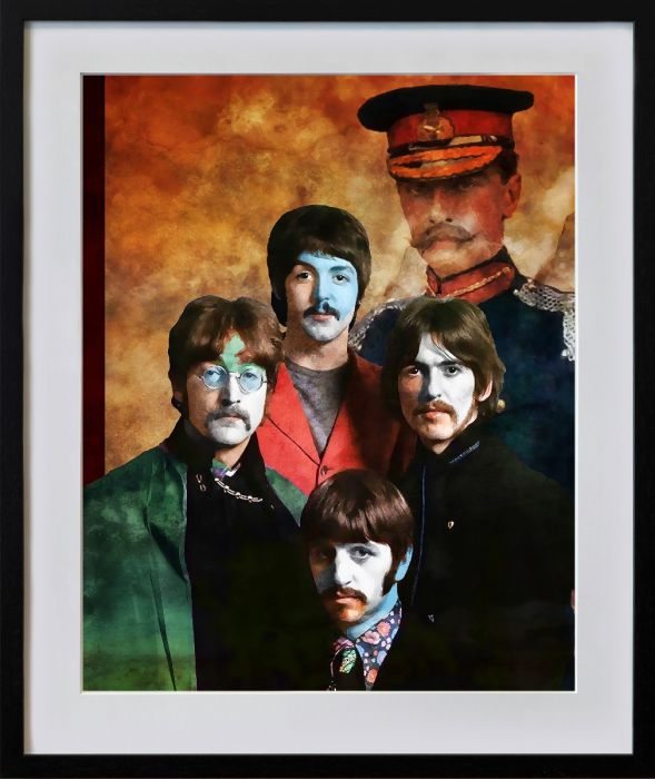 Konstnären Per Siwmarks grafiska blad The Beatles, Sgt Pepper.
